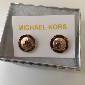 NEW Michael Kors logo earrings (rose gold) UNWORN